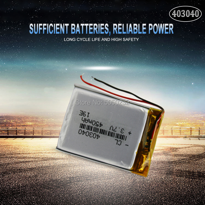 1pc <font><b>3.7V</b></font> 450mAh <font><b>403040</b></font> Polymer Lithium Rechargeable Battery For MP3 MP4 GPS Bluetooth Tachograph Car DVR speaker cells image