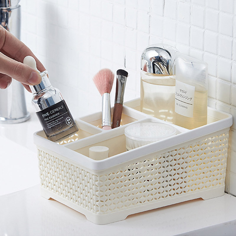 QDRR Household cosmetics storage box makeup brush lipstick desktop finishing office desk shelf desk simple storage box plastic