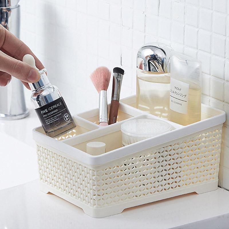 Контейнер для хранения косметики QDRR для дома, пластиковая настольная полка для макияжа, кисточки, помады, для офисного стола, простой ящик для хранения