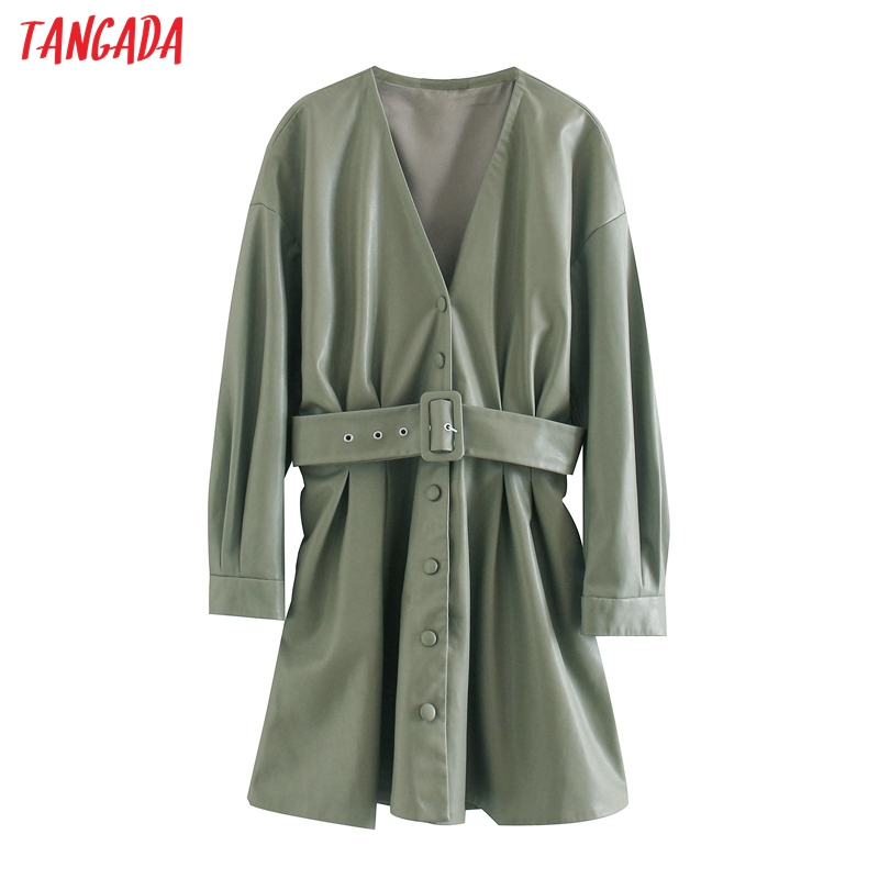 Tangada 2020 Autumn Winter women green faux leather dress with belt long sleeve ladies short dress vestidos 3L64