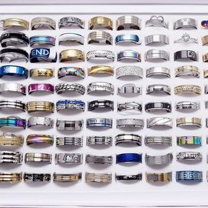 Image 2 - MIXMAX wholesale lots bulk 100pcs women rings set stainless steel couple wedding bands mens jewelry party gifts dropshipping