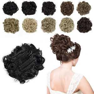 1pcs Short Messy Curly Dish Hair Extensions Clip In on Bun Hair Extensions Stretch Scrunchie Tray Ponytail Hairpiece Hairpieces