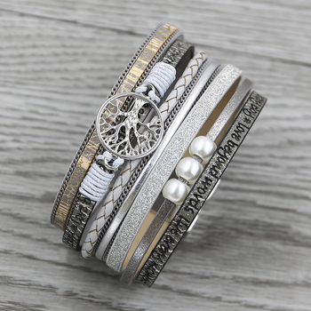 STRATHSPEY Tree of life bracelet multilayer leather bracelets For women Vintage Wide Wrap Bracelet & Bangle Femme jewelry allyes tree of life charm pearl leather bracelets for women fashion ladies bohemian multilayer wide wrap bracelet female jewelry