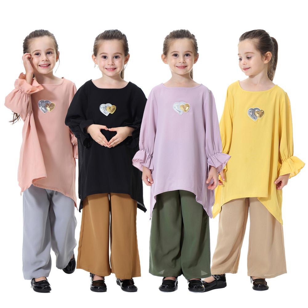 Cute Muslim Kids Clothes Abaya With Pants Wide Leg Girls Turkey Dress Set Arab Malay Islamic Clothing For Children 2 Pieces