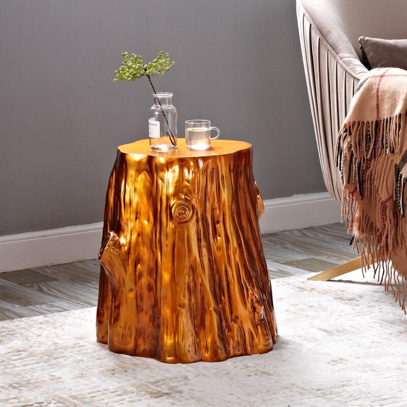 Imitação de madeira sala estar lateral pequena mesa de café retro casual pequena mesa de café banqueta personalidade mesa lateral - 4