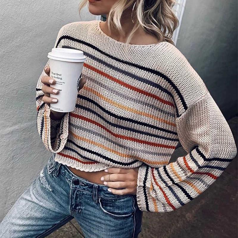 Otoño Invierno moda rayas Arco Iris suéter mujer manga larga caliente Oversize suelto corto negro Cable suéter de punto otoño 2018