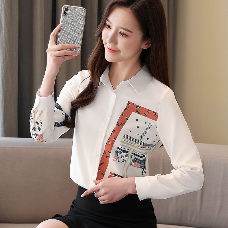 Korean Fashion Clothing Blusas Mujer De Moda 2021 Spring Long Sleeve Office Lady Blouse  Print Button  Chiffon Shirts 8805 50 4