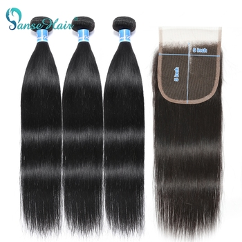 Panse hair Brazilian Human Hair 5x5  Bundles With Closure Straight bundles with closure 4/5pcs Lot Non-remy Extension - discount item  48% OFF Human Hair (For Black)