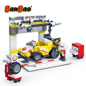 Image 3 - BanBao Racing Car Garage Pull Back Off road Vehicle Bricks Educational Building Blocks For Kids Children Model Toys Gift