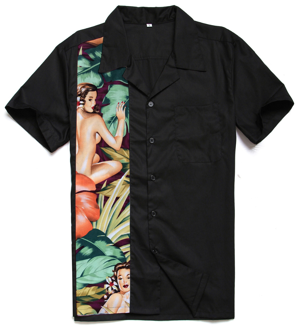 Mens Dress Shirts  Streetwear Wear Cotton Hawaiian Girl Printing Panel Rock N Roll Charley Harper Inspired Casual Shirt For Male