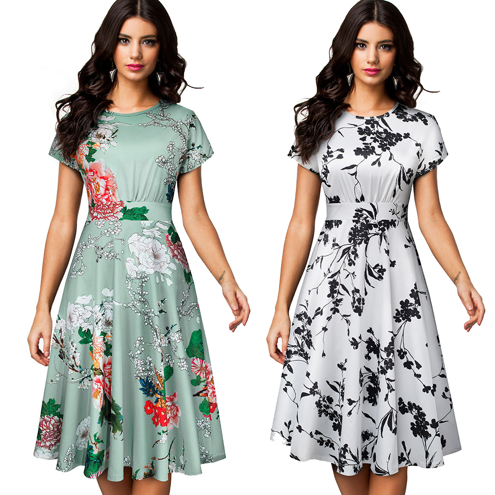Women's Sleeveless Cocktail A-Line Embroidery Party Summer Wedding Guest Dress 5