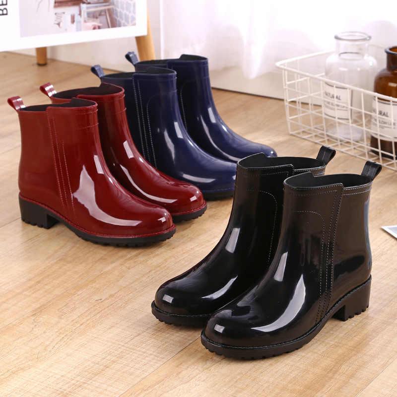 Yağmur çizmeleri su geçirmez ayakkabı kadın su kauçuk Lace Up Martin çizmeler dikiş katı düz ayakkabı botları kadın asx34