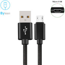 Byleen 1m/2m/3m Braided Micro USB Cable Data Sync USB Charger Cable For Samsung S7 edge HTC Huawei Xiaomi Android Phone Cables
