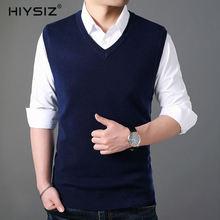 HIYSIZ New Vest Sweaters Male 2019 V-Neck Casual Sleeveless Streetwear Fashion Brand Style Autumn Winter Pullover Men SW030