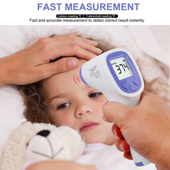 цена на Kids Baby Thermometer Forehead Non-Contact Infrared Thermometer LCD Digital Display Adult Body Fever Thermometer Gun with Box