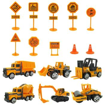 16Pcs/Set Mini Excavator Engineering Car Vehicle Road Sign Model Kids Toy Gift image