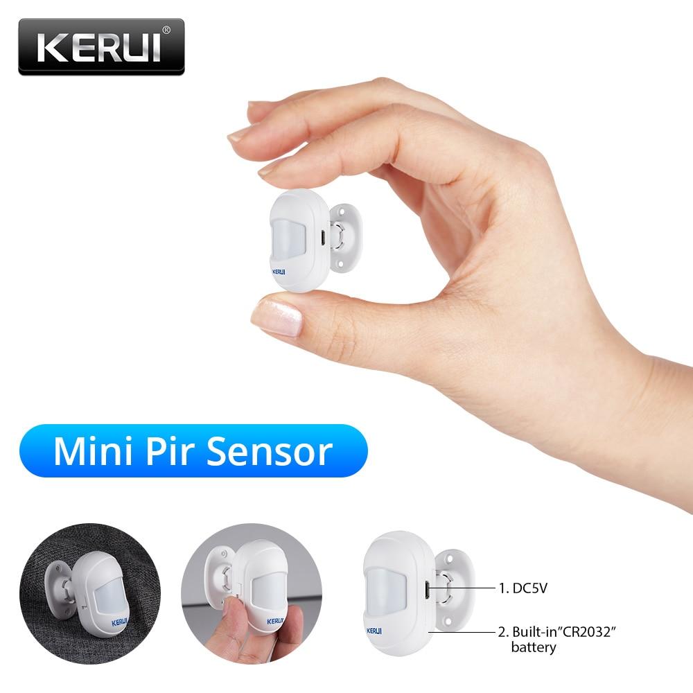KERUI inalámbrico Mini pequeño ángulo móvil seguridad del hogar antirrobo PIR Detector de movimiento infrarrojo para G18 WG11 sistema de alarma WiFi/GSM