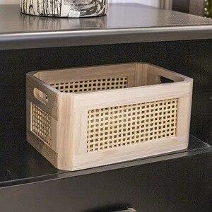 Image 5 - 나무 스토리지 박스 실용적인 수제 기본 컬러 데스크탑 장식 의류 보관 바구니 주방 인테리어 가정 용품