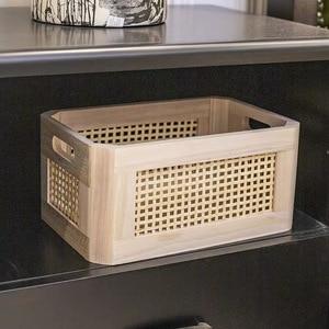 Image 5 - Wooden storage box practical handmade primary color desktop decorative clothes storage basket kitchen interior household items