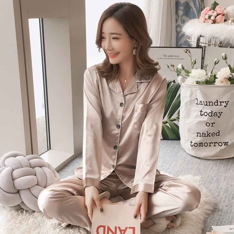 Hot Selling Imitated Silk Fabric Cardigan Long Sleeve Pajamas Women's Tracksuit Piece-Victoria's Secret Solid Color