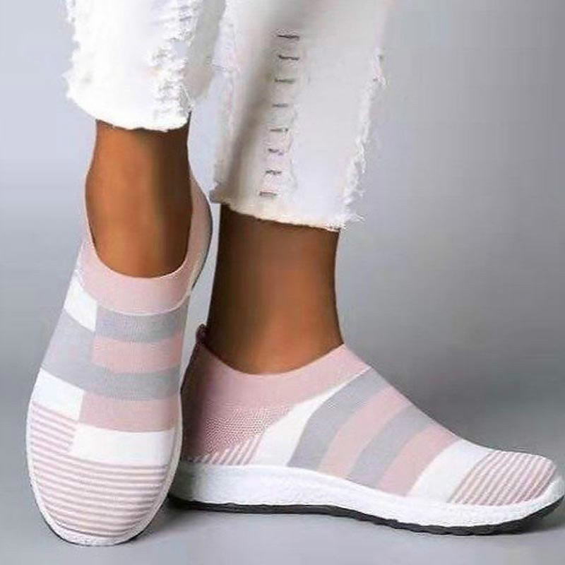 Flats Casual Sneakers Women Shoes 2020 Brand Breathable Mesh Summer Sock Women Shoes Loafers White Shoes Woman Korean Style Flat