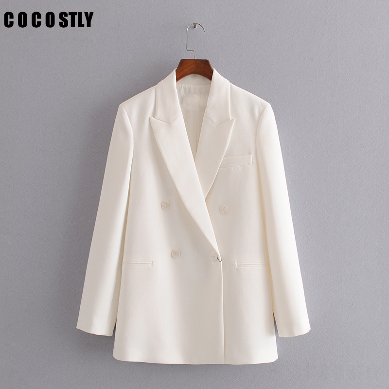Office Ladies Blazer Woman Suit Jacket Autumn New Slim Double Breasted Suit Temperament White Small Suit Female Jacket
