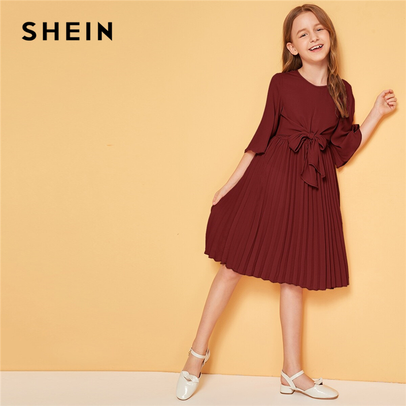 Image 4 - SHEIN Kiddie Solid Tie Front Pleated Girls Cute Dress Kids 2019 Summer Flounce Sleeve A Line Children Knee Length Dresses-in Dresses from Mother & Kids