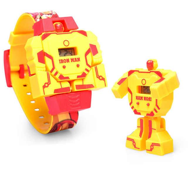 كارتون روبوت الاطفال مشاهدة اللعب تشوه أنيمي التحول juguَبحجم كابتن أمريكا سبايدرمان ساعة اليد