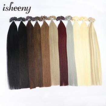 """Klaring Items! 12 """"Remy Keratine U Tip Hair Extensions 0.5 G/stk Zijdeachtige Rechte Pre Bonding Human Hair Extension Natuurlijke 50 Pcs"""