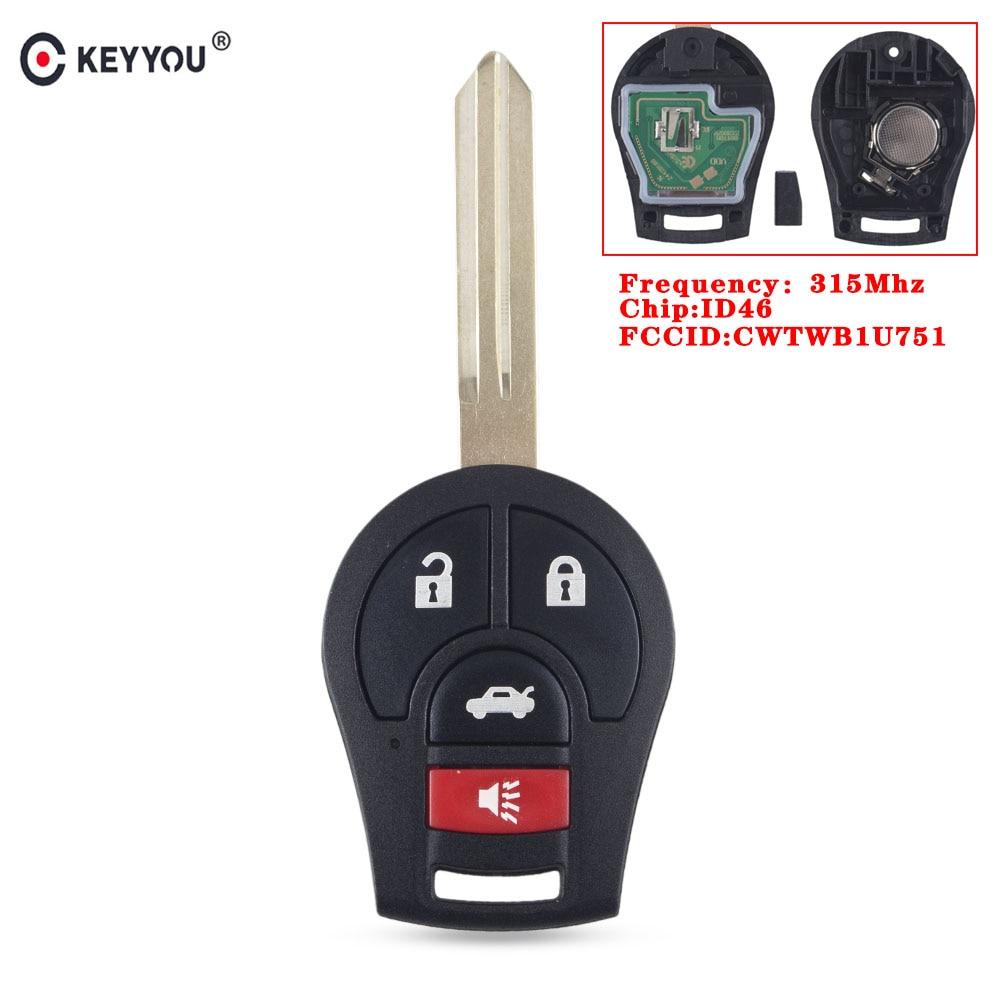 Дистанционный Автомобильный ключ KEYYOU CWTWB1U751 для Nissan Rogue Versa Tiida 2008 2009 2010 2012 2013 2014 2015 2016 315 МГц с чипом ID46