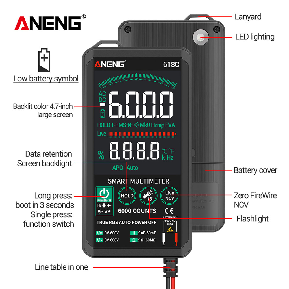 ANENG 618C Digital Multimeter Smart Touch DC Analog Bar True RMS Auto Tester Professional Transistor Capacitor NCV Testers Meter