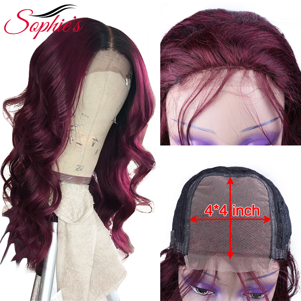 Sophie's 4*4 Lace Closure Human Hair Wigs Body Wave Human Hair Wigs For Women Lace Closure Human Hair 99j Color Non-Remy Wig