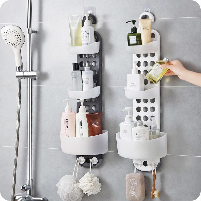 1 шт. ванная комната настенный стеллаж для хранения бесплатно пробивая Душ стойка для раковины угловая полка держатель полки ZP8071410