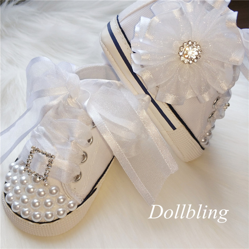 2019 Original Handmade Pearl Rhinestone Flower Baby Canvas Shoes Baby Centennial Photo High-end Customization