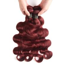 Bundles Human-Hair-Extensions Body-Wave Burgundy 99J Wholesale Peruvian Red 2 4-27-30