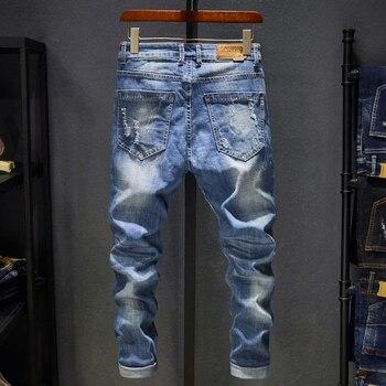 Ripped Jeans Men Slim Fit Light Blue Stretch Fashion  3