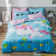 Gêmeo rainha tamanho 4 pçs unicórnio dinossauro capa de edredão folha 100% algodão macio respirável durável conjunto cama para crianças meninos