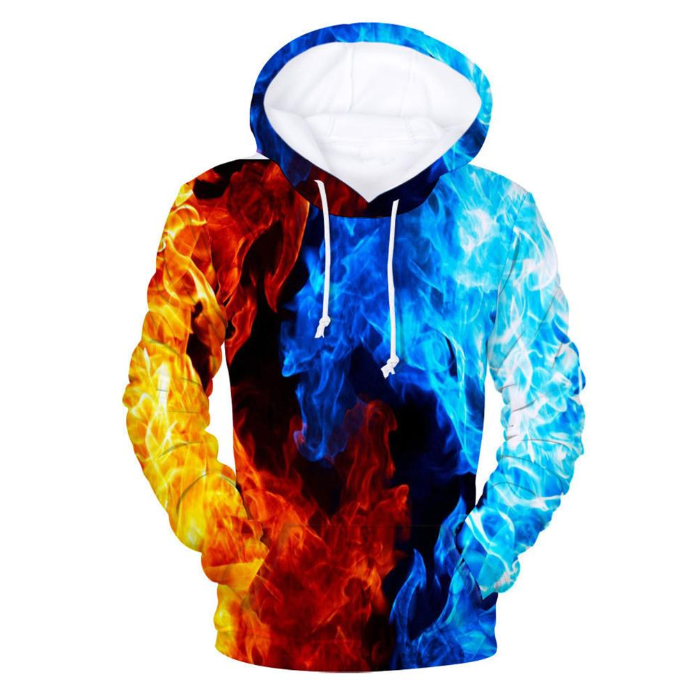 Men 3D Digital Fire Flame Print Hooded Sweatshirt Drawstring Pocket Hoodie Coat 2019 Free Shipping
