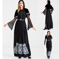 Adult women gothic halloween costume black cloak witch robes cosplay tarot divination wizard costume death vampire lace long dress
