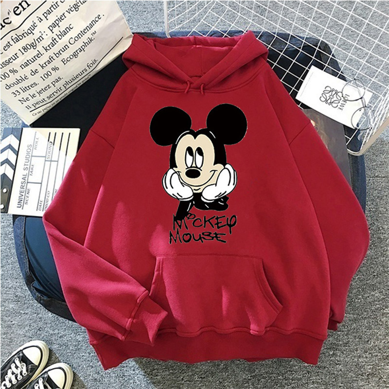 Disney Women Hoodies Minnie Mickey Mouse Hoodies Cartoon Tops Long Sleeve Pockets Sweatshirts Fashion Hooded Women 32