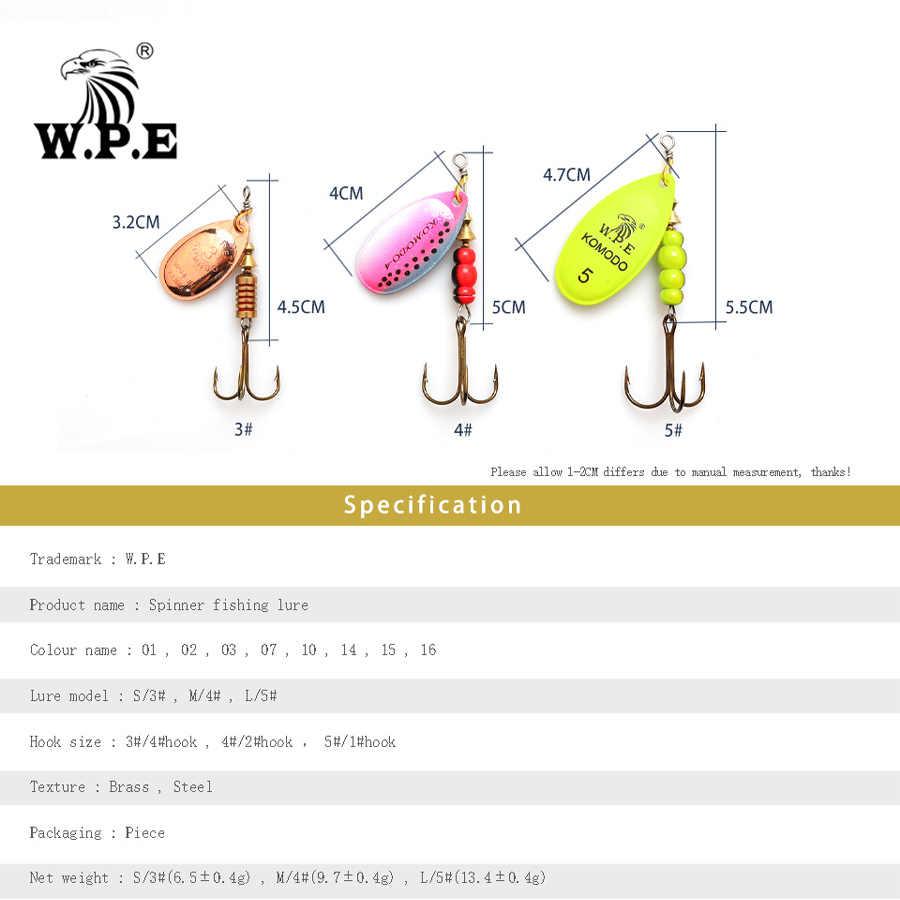 W.P.E ยี่ห้อ 2pcs SPINNER Lure 6.5g/9.7g/13.4g ตกปลาเหยื่อช้อนโลหะล่อ TREBLE ตะขอตกปลา Hard Lure CrankBaits