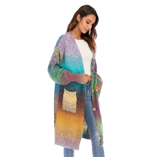 CGYY Women's Lightweight Rainbow Color Striped  Loose Causal  Long Sleeve Open Front Breathable Cardigans Sweater With Pockets 6
