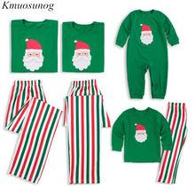 2Pcs Family Christmas Pajamas Kids&Adult Long Sleeve T-shirt+Striped Pants Matching Clothes Pjs Sleepwear C0558