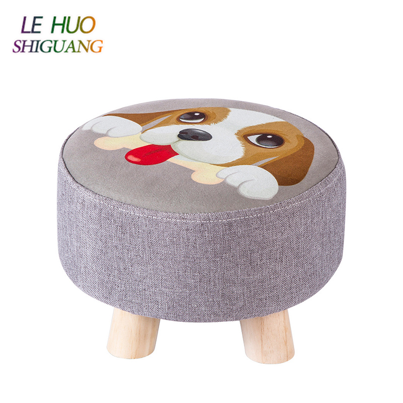 Light Portable Household Solid Wood Change Shoe Bench Cloth Seat Round Stool Sofa Footrest Leisure Kids Low Stool