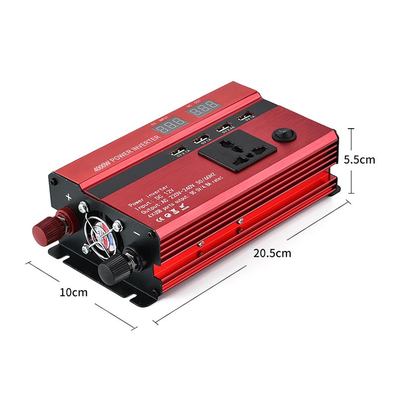 4000w 5000w 6000w Car Power Inverter Charger DC 12V/24V To AC 220V Sine Wave Converter Interfaces Voltage Transformer Adapter