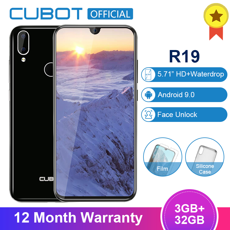 Cubot R19 Android 9.0 19:9 3GB 32GB Quad Core Fingerprint Smartphone Water Drop Screen Dual Back Camera Face ID Mobile Phone