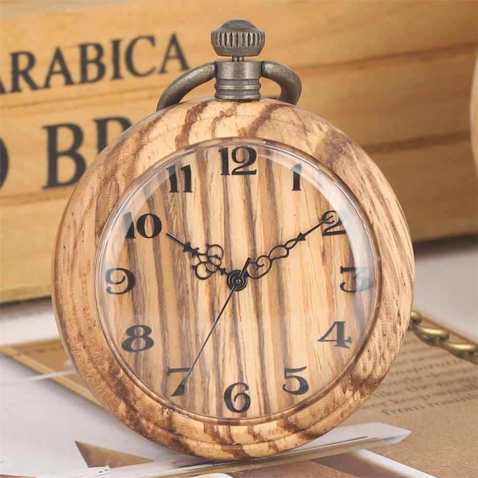 Wooden Watch Pocket Hanging Clock Quartz Movement Creative Retro Pendant Watch Bronze Steampunk Fob Chain New Arrival 2019