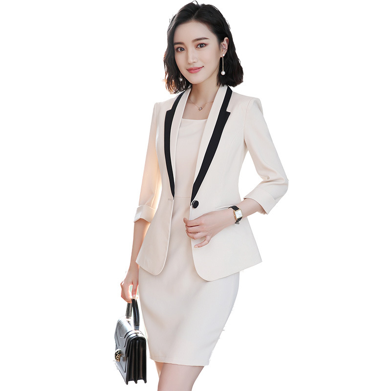 Apricot Formal Dress Blazer Women Dresses With Jacket Women's Dress Suit Set Office Wear Work For Ladies Evening Elegant Costume