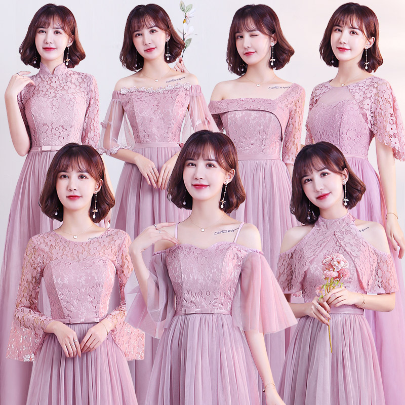 Burgundy Bridesmaid Dresses Pink Tulle Elegant Dress Women For Wedding Party Sexy Prom Club Dress Sister Vestido De Festa Longo