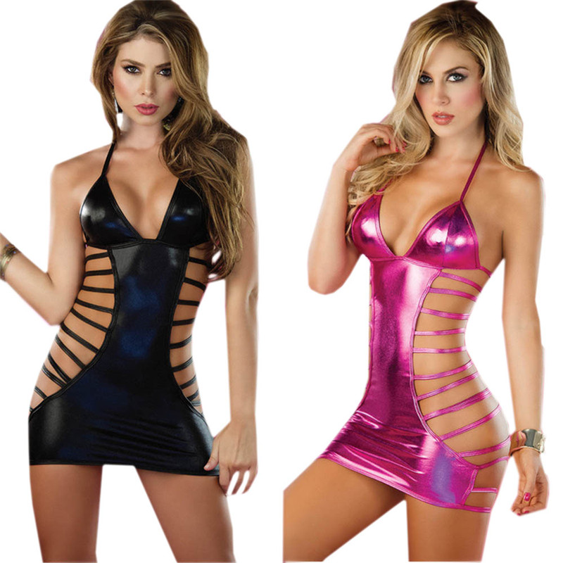 Sexy Lingerie Hot Women PVC Leather Erotic Dress Lenceria Sex Underwear Exotic Apparel Sex Clothes Pole Dance Sexy Costumes